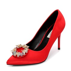 Women's Satin Stiletto Heel Pumps Closed Toe With Rhinestone shoes (085155266)