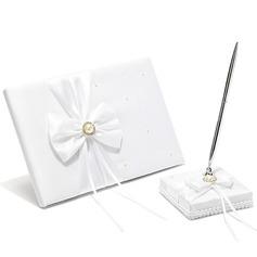 Estilo clásico La perla de faux/Arco Libro de visitas & sistema de la pluma (101018154)