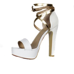 Suede Chunky Heel Sandals Platform Peep Toe With Buckle shoes (087026651)