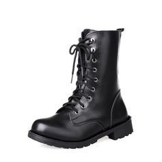 Женщины PU Низкий каблук Ботинки Сапоги до середины голени с Шнуровка обувь (088137078)
