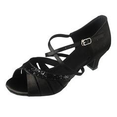 Женщины Атлас Мерцающая отделка На каблуках Сандалии Латино с Ремешок на щиколотке Обувь для танцев (053066285)