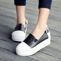 Женщины кожа Вид каблука Танкетка с Соединение врасщеп обувь (086119388)