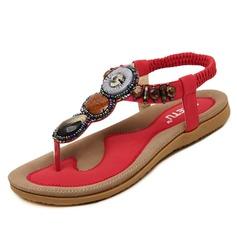Женщины кожа Плоский каблук Сандалии с развальцовка обувь (087093231)