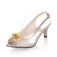 Kvinnor Konstläder Cone Heel Sandaler Peep Toe Slingbacks med Blomma skor (087050710)