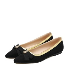 Женщины PU Плоский каблук На плокой подошве Закрытый мыс с бантом обувь (086132706)