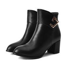 Женщины кожа Устойчивый каблук Ботинки с горный хрусталь Застежка-молния Другие обувь (088109394)