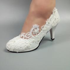 Vrouwen Kunstleer Stiletto Heel Closed Toe met Stitching Lace (047153544)
