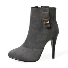Женщины Замша Высокий тонкий каблук На каблуках Ботинки Сапоги до середины голени с пряжка Застежка-молния обувь (088143724)