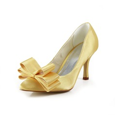 Vrouwen Satijn Spool Hak Closed Toe Pumps met Strik (047034357)