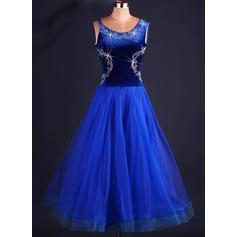 Женщины Одежда для танцев Органза Латино Платья (115091493)