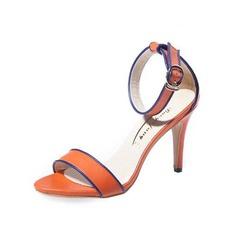 Женщины кожа Высокий тонкий каблук Сандалии с пряжка обувь (087050258)