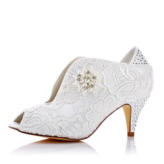 Женщины Кружева шелка как атласное Каблук Открытый мыс На каблуках с Имитация Перл Аппликация (047117247)