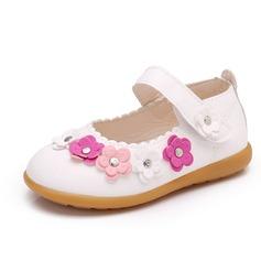 девичий Закрытый мыс дерматин Плоский каблук На плокой подошве Обувь для девочек с На липучке Цветок заклепки (207101988)