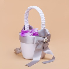 Nice Flower Basket in Satin With Faux Pearl/Sash (102018104)