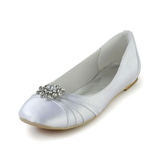 Vrouwen zijde als satijn Flat Heel Closed Toe Flats met Strass Ruched (047028556)