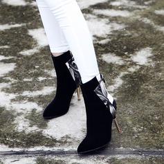 Femmes Suède PU Talon stiletto Escarpins Bottes Bottes mi-mollets avec Zip Talon de bijoux chaussures (088130798)