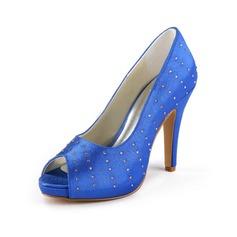 Mulher Cetim Salto cone Peep toe Plataforma Sandálias com Imitação de Diamantes (047011057)