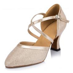 Женщины кожа На каблуках Бальные танцы с блестками Обувь для танцев (053059824)
