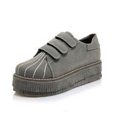 Vrouwen Kunstleer Flat Heel Flats met Velcro schoenen (086109544)