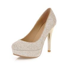 Pailletes scintillantes Talon stiletto Escarpins Plateforme Bout fermé chaussures (085046475)