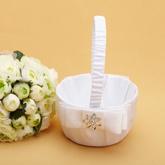 Elegant Flower Basket in Satin With Crystal/Bow (102038619)