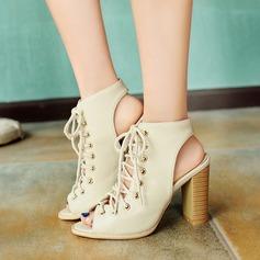 Женщины кожа Устойчивый каблук Сандалии с Шнуровка обувь (088114630)