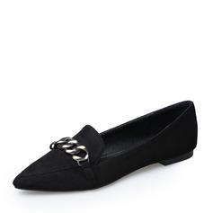 Женщины Замша Плоский каблук На плокой подошве Закрытый мыс с Цепь обувь (086142474)