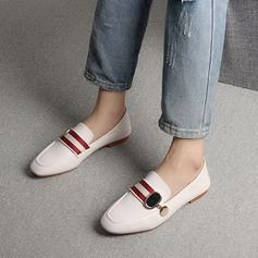 Женщины PU Плоский каблук На плокой подошве Закрытый мыс с Плетеный ремень обувь (086142457)