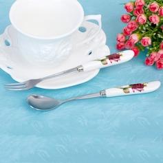 Adorável Rosa Aço inoxidável Colher e um Garfo Set (051017014)