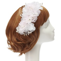 Beautiful Rhinestone/Pearl/Chiffon Flowers & Feathers (042028755)