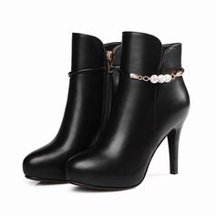 Женщины кожа Высокий тонкий каблук На каблуках Полусапоги с развальцовка Застежка-молния обувь (088103902)
