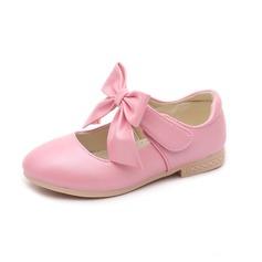 Fille de Bout fermé similicuir talon plat Chaussures plates Chaussures de fille de fleur avec Bowknot Velcro (207102013)