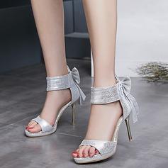 Mulheres Couro Salto agulha Sandálias Beach Wedding Shoes com Bowknot Zíper (047125443)