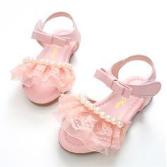 Jentas Lukket Tå Leather flat Heel Flate sko Flower Girl Shoes med Bowknot Imitert Perle Velcro Ruched (207112599)