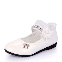 Jentas Lukket Tå Leather flat Heel Flate sko med Bowknot Rhinestone Sateng Sløyfe Ruched (207112563)