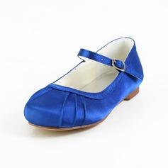 Kinder Satin Flascher Absatz Geschlossene Zehe Flache Schuhe mit Schnalle (047031811)