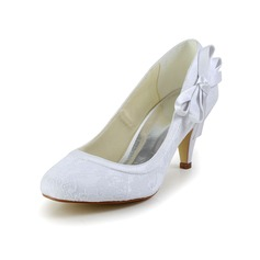 Women's Satin Cone Heel Closed Toe With Bowknot (047034348)