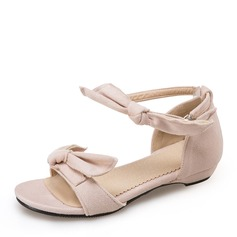 Женщины Замша Плоский каблук Сандалии На плокой подошве Открытый мыс с бантом обувь (087155462)