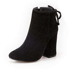Женщины Замша Высокий тонкий каблук Ботинки Полусапоги обувь (088098560)