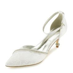 Женщины Кружева кожа Каблук Закрытый мыс На каблуках Сандалии с Каблуки с кристаллами (047166038)