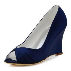 Women's Silk Like Satin Wedge Heel Peep Toe Wedges With Ruffles (047182290)
