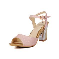 Женщины кожа Высокий тонкий каблук Сандалии На каблуках обувь (087093367)