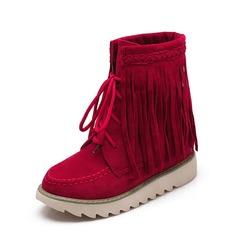 Женщины Замша Плоский каблук На плокой подошве Закрытый мыс Ботинки с Шнуровка кисточкой обувь (088126575)
