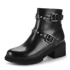 Mulheres PU Salto robusto Botas Bota no tornozelo com Rivet Laço costurado Zíper sapatos (088143734)