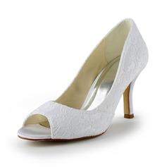 Kvinnor Spets Satäng STILETTKLACK Peep Toe Sandaler (047024509)
