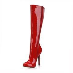 Женщины Лакированная кожа Высокий тонкий каблук На каблуках Закрытый мыс Ботинки Сапоги до колен обувь (088095424)