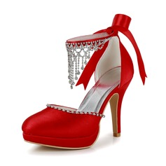 Women's Satin Cone Heel Closed Toe Platform Pumps With Beading Rhinestone (047005114)