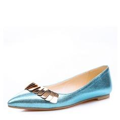 Женщины PVC Плоский каблук На плокой подошве Закрытый мыс с пряжка обувь (086153775)