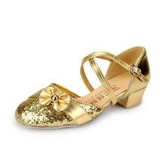 Детская обувь кожа Мерцающая отделка На каблуках На каблуках Бальные танцы с Ремешок на щиколотке Обувь для танцев (053058443)
