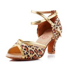 Mulheres Cetim Saltos Sandálias Latino Salão de Baile com Correia de Calcanhar Sapatos de dança (053041592)